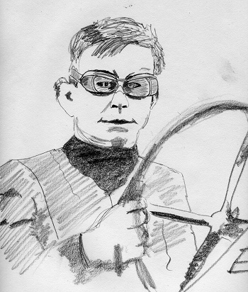 bob burman pencil sketch