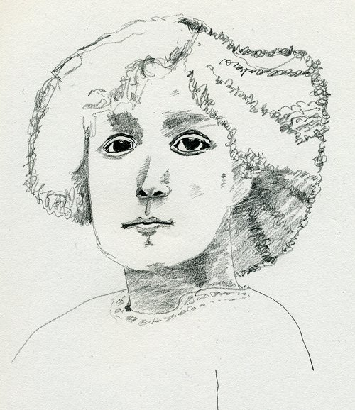 pencil sketch of Infanta Beatriz of Spain