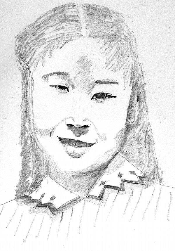 pencil sketch of Joyce Yuki Nakamura