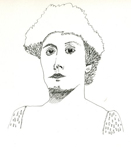 pen sketch of Julia Marlowe