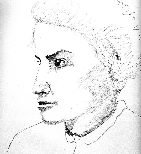 pencil sketch of Mamie La Barge