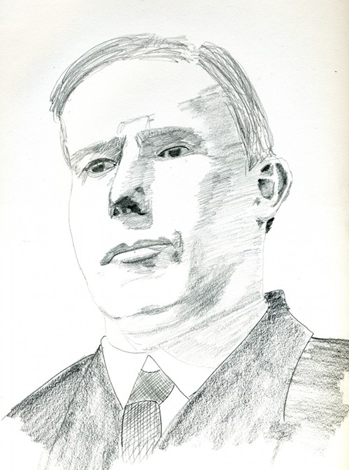 pencil sketch of W. Morgan Shuster
